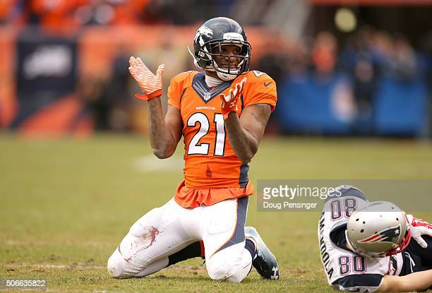 Aqib Talib of the Denver Broncos reacts after a play in the second half against Danny Amendola of the New England Patriots in the AFC Championship...