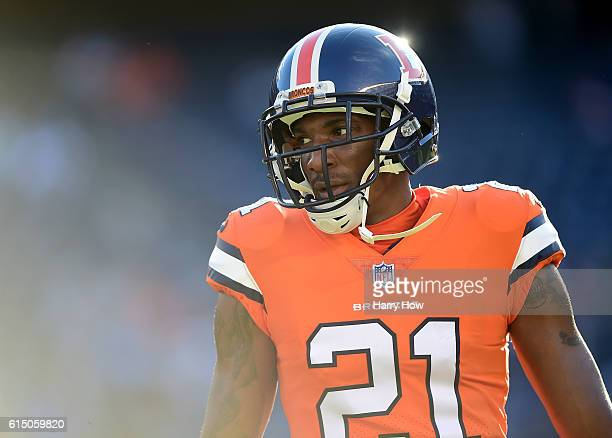 Aqib Talib of the Denver Broncos warms up before the game against the San Diego Chargers at Qualcomm Stadium on October 13 2016 in San Diego...