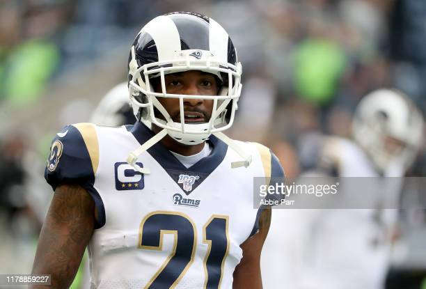Aqib Talib of the Los Angeles Rams warmsup before the game against the  Seattle Seahawks at CenturyLink Field on October 03 2019 in Seattle Washington
