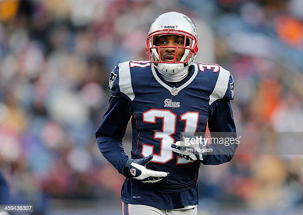 Aqib Talib of the New England Patriots looks on during a game with Cleveland Browns at Gillette Stadium on December 8, 2013 in Foxboro, Massachusetts.