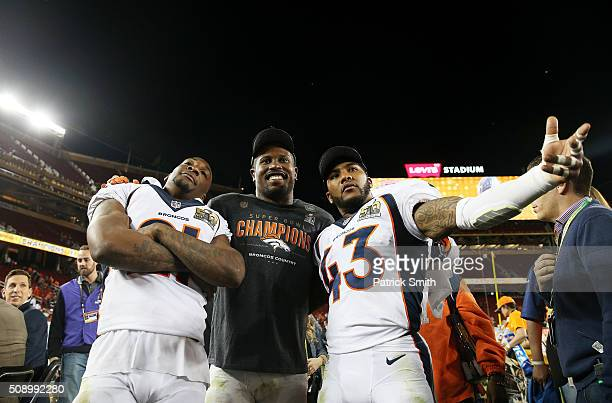 Aqib Talib Von Miller and TJ Ward of the Denver Broncos celebrate after defeating the Carolina Panthers 2410 in Super Bowl 50 at Levi's Stadium on...