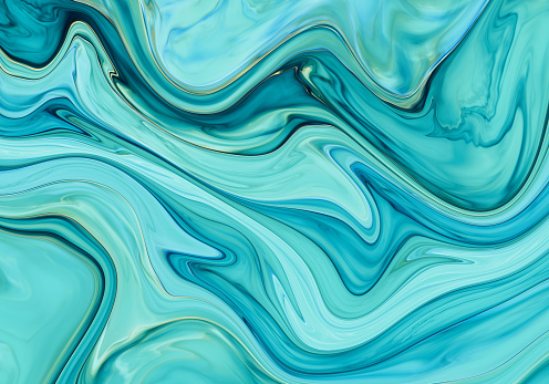 Aqua abstract painted wavy marble illustration - gettyimageskorea