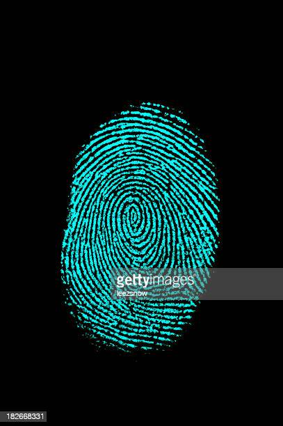 Aqua Blue Fingerprint on Black