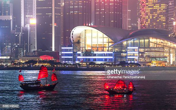 Aqua Luna (Cheung Po Tsai): red-sail boat from Victoria Harbour in Hong Kong