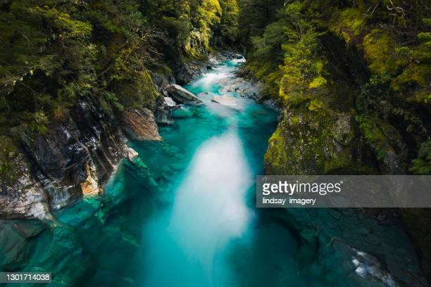 aqua marine turquoise blue river flowing past bright green trees - valley stock pictures, royalty-free photos & images