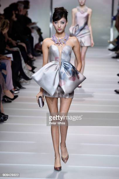 Aqua Parios walks the runway during the Giorgio Armani Prive Spring Summer 2018 show as part of Paris Fashion Week on January 23 2018 in Paris France