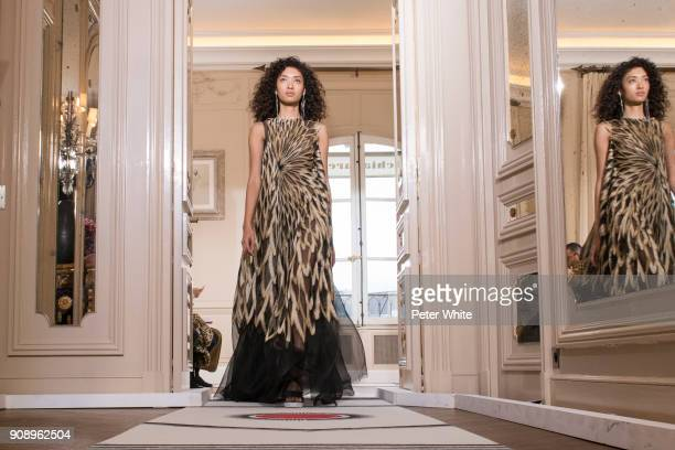 Aqua Parios walks the runway during the Schiaparelli Spring Summer 2018 show as part of Paris Fashion Week on January 22 2018 in Paris France