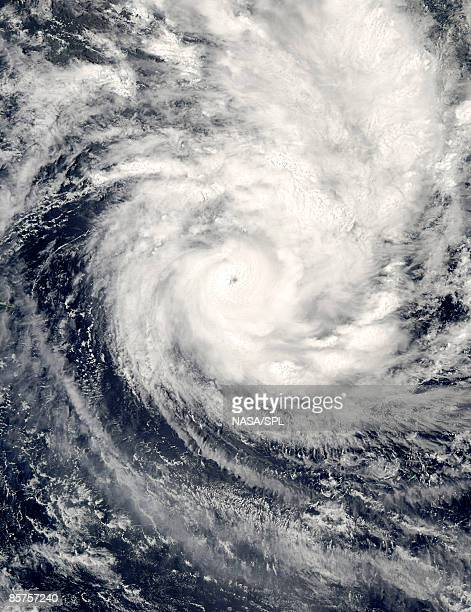 aqua satellite image of tropical cyclone in the south pacific ocean - cyclone stock pictures, royalty-free photos & images