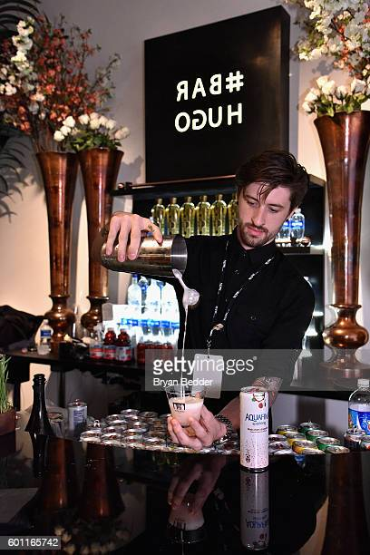 Aquafina products on display in Bar Hugo at New York Fashion Week The Shows at Skylight Clarkson Sq on September 9 2016 in New York City