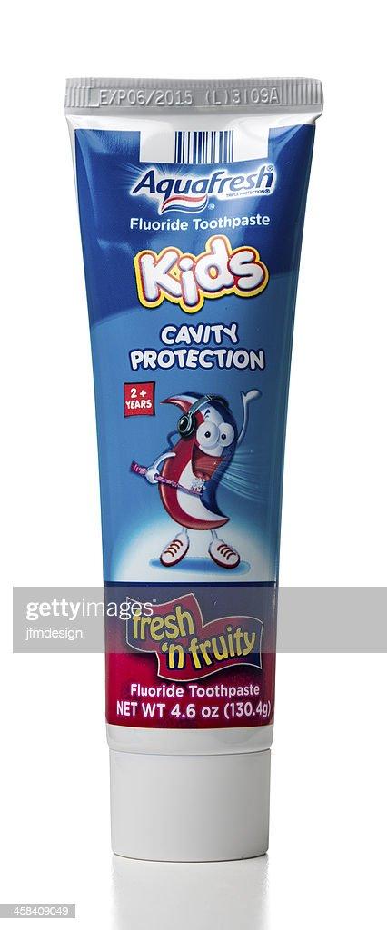 Aquafresh Kids Freshn Fruity Fluoride Toothpaste Tube Stock