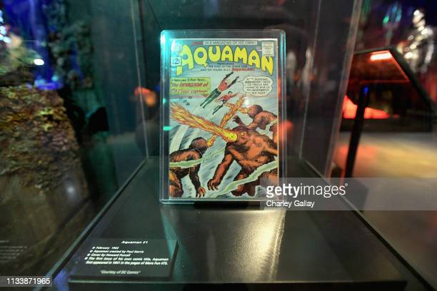 Aquaman comic on display during the Warner Bros Studio Tour Hollywood Aquaman Exhibit reveal on March 05 2019 in Los Angeles California