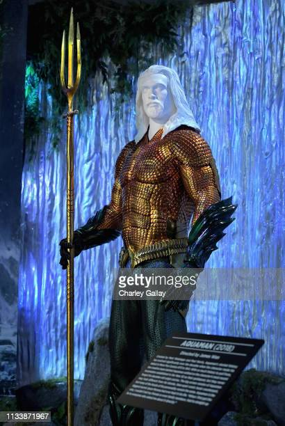 Aquaman costume on display during the Warner Bros Studio Tour Hollywood Aquaman Exhibit reveal on March 05 2019 in Los Angeles California