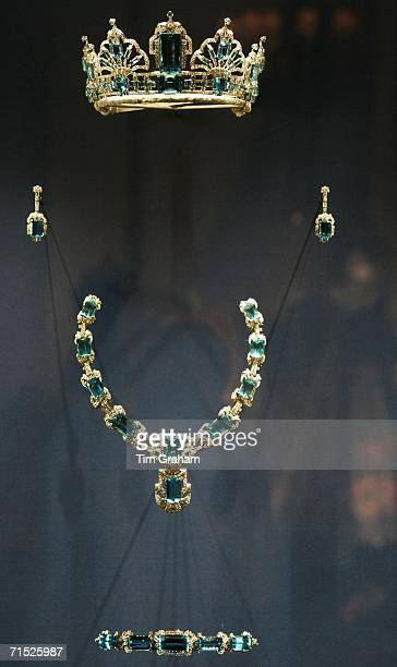 Aquamarine and diamond parure jewel set of tiara, necklace, earrings and bracelet, a coronation gift from Brazil, displayed in a exhibition of Queen...