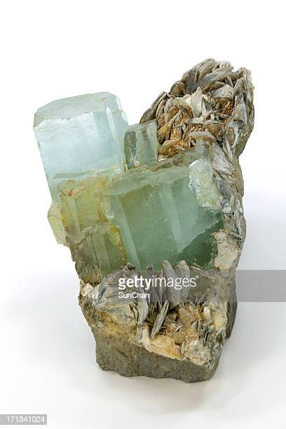 aquamarine, topaz or quartz crystals - topaz stock photos and pictures