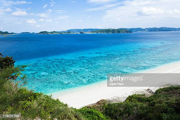 Aquamarine water of tropical island beach, Okinawa
