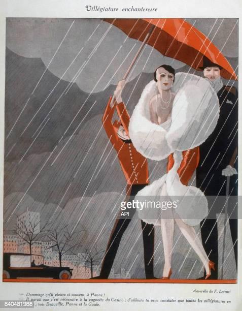 Aquarelle humoristique 'Villégiature enchanteresse' présentant une femme en manteau de fourrure protégée de la pluie par un groom lui tenant un...