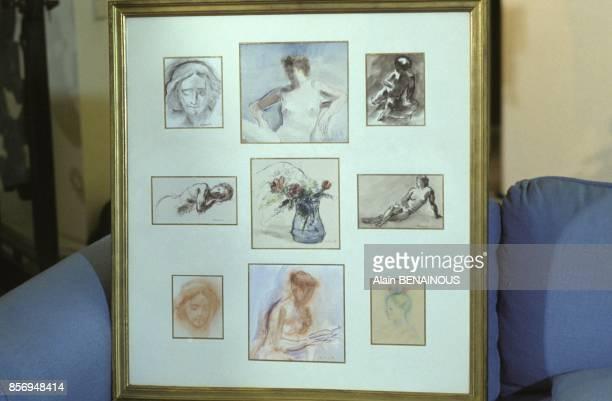 Aquarelles realisees par Paul Belmondo chez son fils le comedien JeanPaul Belmondo le 10 janvier 1991 a Paris France
