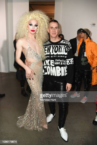 Aquaria and designer Jeremy Scott pose backstage for Jeremy Scott fashion show during New York Fashion Week The Shows at Gallery I at Spring Studios...