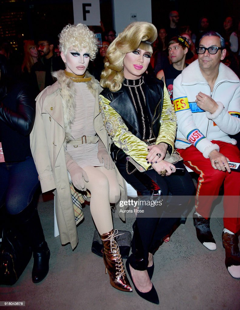 Aquaria and Jodie Harsh sit front row at The Blonds Runway show during New York Fashion Week at Spring Studios on February 13, 2018 in New York City.