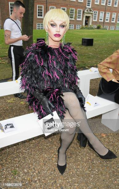 Aquaria attends the Erdem front row during London Fashion Week September 2019 at Grays Inn Gardens on September 16, 2019 in London, England.