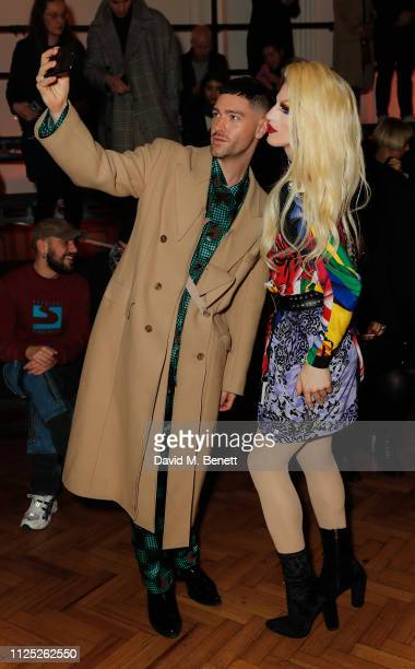 Aquaria attends the International Woolmark Prize 18/19 Final show during London Fashion Week February 2019 at Lindley Hall on February 16 2019 in...