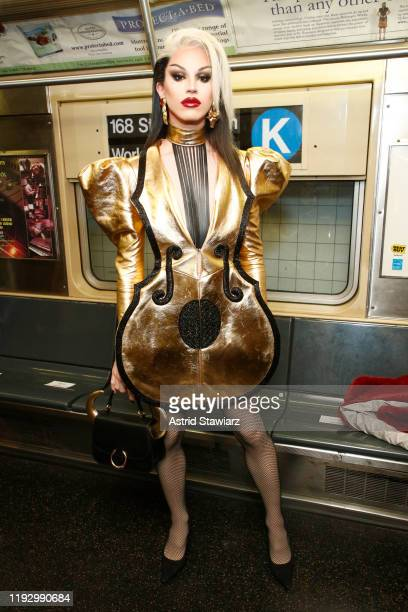 Aquaria attends the Moschino Prefall 2020 Runway Show front row at New York Transit Museum on December 09, 2019 in Brooklyn City.