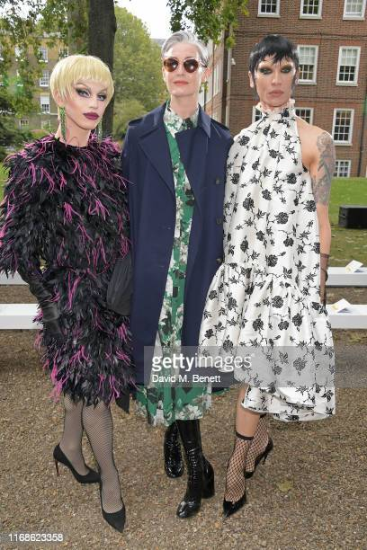 Aquaria Erin O'Connor and Miss Fame attend the Erdem front row during London Fashion Week September 2019 at Grays Inn Gardens on September 16 2019 in...
