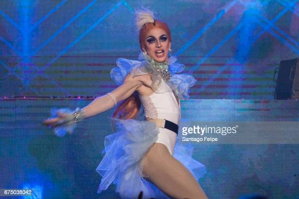 Aquaria performs onstage during VH1 Presents RuPaul's DragCon Party 'Battle On The Runway' at Globe Theatre on April 29 2017 in Los Angeles California