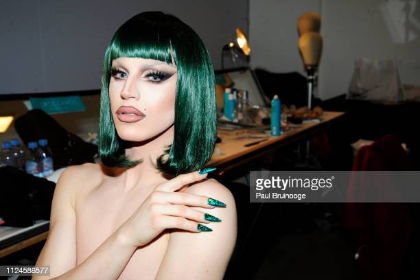 Aquaria prepares backstage at The Blonds show during New York Fashion Week The Shows at Gallery I at Spring Studios on February 12 2019 in New York...