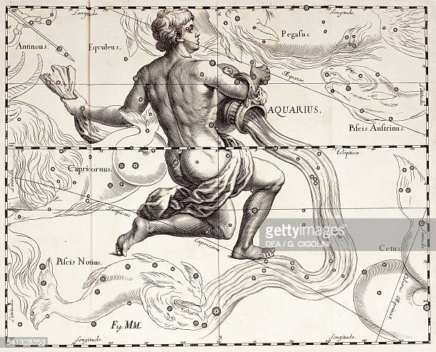 Aquarius the zodiacal constellation of the Water Bearer illustration taken from Johann Hevelius's star atlas Firmamentum Sobiescianum sive...