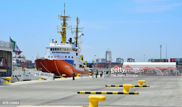 Aquarius which carried migrants rescued a week ago and refused by Italian government is seen at the port of Valencia on June 17 2018 in Valencia Spain