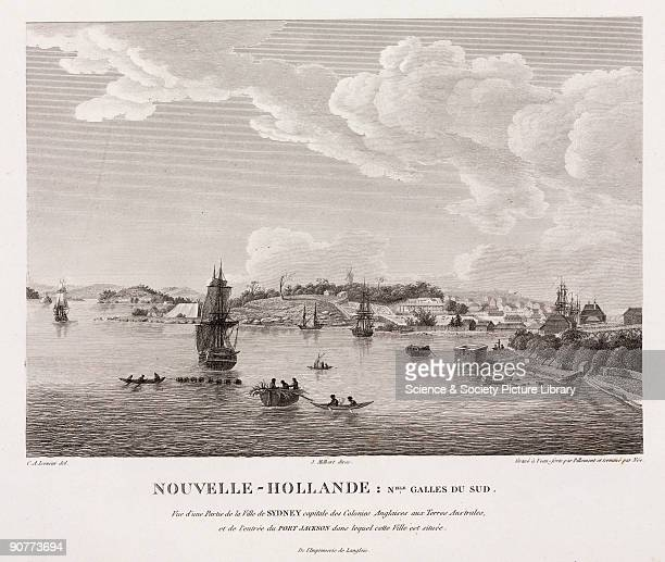 Aquatint by Pillement and Nee after Lesueur of the British settlement at Sydney New South Wales New Holland Sydney is described as capital of the...