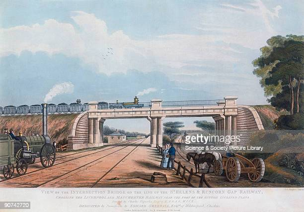 Aquatint by S G Hughes showing the intersection bridge on the line of the St Helens to Runcorn Gap Railway crossing the Liverpool and Manchester...