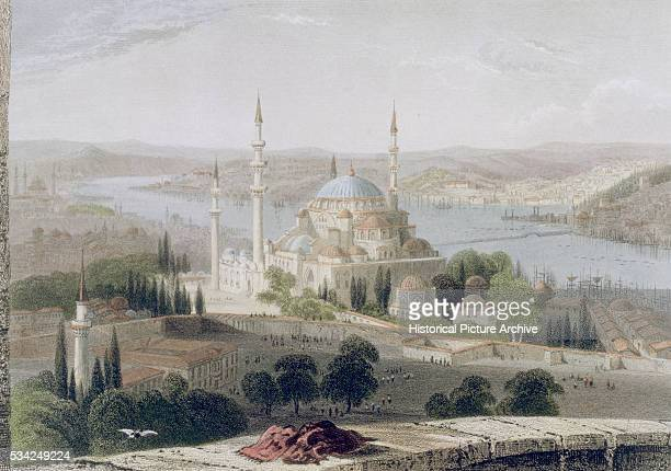 Aquatint of Mosque and Tomb of Sulieman by William Henry Bartlett