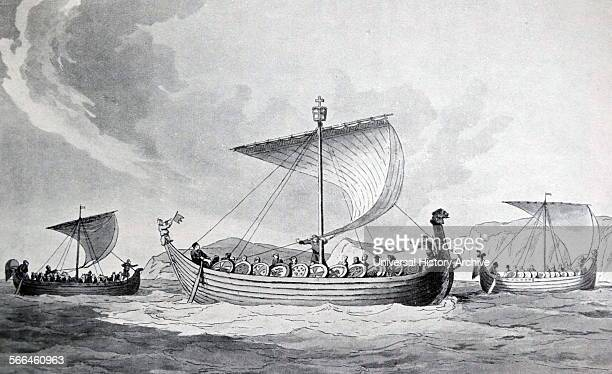 Aquatint of the ships of William the Conqueror based on the Bayeux Tapestry Print by J A Atkinson Dated 1811