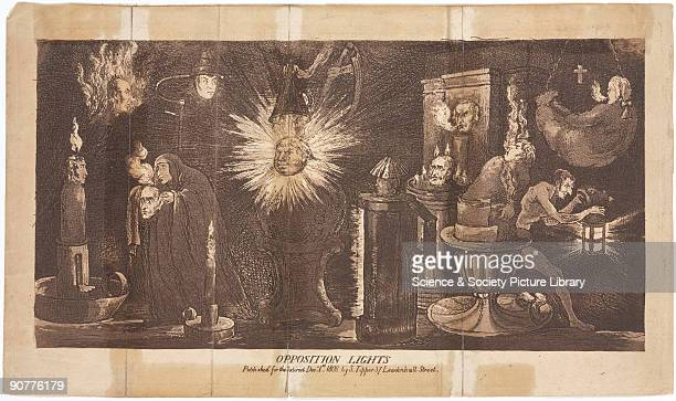 Aquatint published by S Tipper on 1 December 1808 for the Satirist showing a cynical view of the many faces of lighting including sunlight...