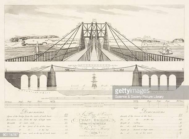 Aquatint. The suspension road bridge connecting the Welsh mainland with Anglesey across the Menai Straits was designed by Thomas Telford and was...