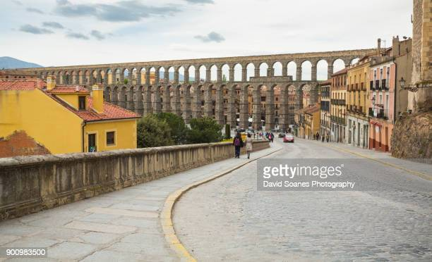 aqueduct of segovia in spain - segovia stock photos and pictures