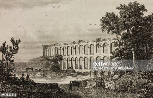 Aqueduct of Uzunkemer near Belgrad Forest Istanbul Turkey engraving by Lemaitre Danvin and Cholet from Turquie by Joseph Marie Jouannin and Jules Van...