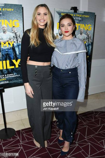 Aqueela Zoll and Florence Pugh attend Fighting With My Family Los Angeles Tastemaker Screening at The London Hotel on February 20 2019 in West...