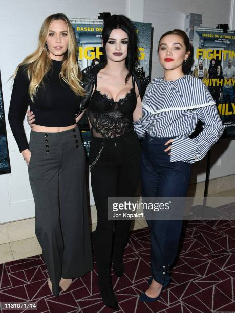 Aqueela Zoll Paige Bevis and Florence Pugh attend Fighting With My Family Los Angeles Tastemaker Screening at The London Hotel on February 20 2019 in...