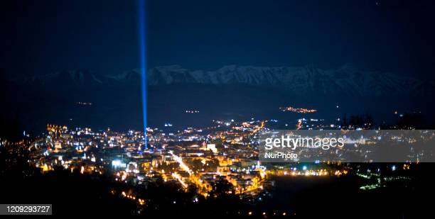 Aquila beams blue light into sky to mark 11th anniversary of 2009 LAquila Earthquake, on April 6 in LAquila, Italy. On each anniversary over the last...