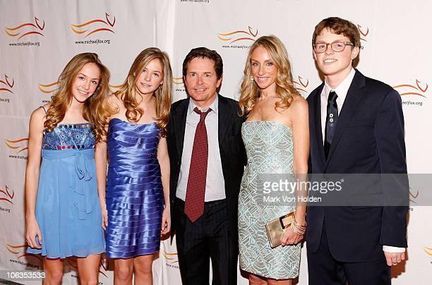 Aquinnah Fox Schuyler Fox Michael J Fox Tracy Pollan and Sam Fox attend the A Funny Thing Happened on the Way to Cure Parkinson's benefit at The...