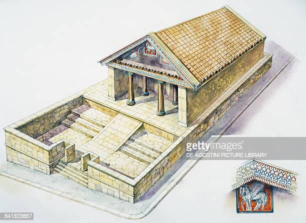 Ara della regina built during the Hellenistic period in Tarquinia Lazio drawing Greek civilisation Italy 4th3rd century BC
