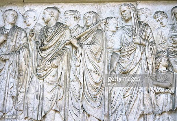 Ara Pacis Augustae Altar dedicated to Peace the Roman goddes Frieze Procession on south side Augustus with his cape pulled over his head Rex sacorum...