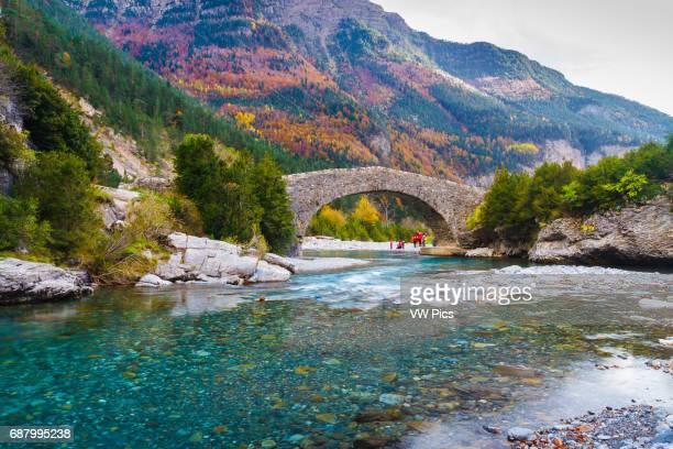 Ara river and romanesque bridge San Nicolas de Bujaruelo Bujaruelo Valley Pyrenees Huesca Spain Europe
