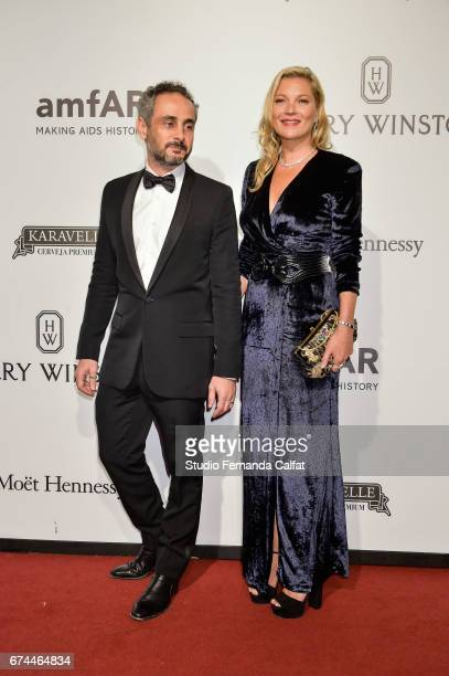 Ara Vartanian and Kate Moss attends the 7th Annual amfAR Inspiration Gala on April 27 2017 in Sao Paulo Brazil