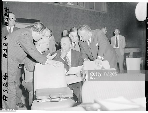 Arab confab before UN session New York New York Djalal Abdoh Iran right Ahmed El Shukairy of Syria and Omar Loutfi of Egypt left seated hold a...