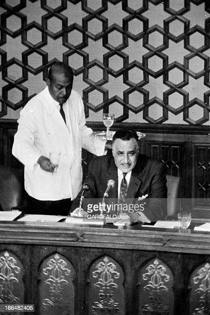 Egypt Press Conference By President Nasser Mai 1967 Le Caire Conférence de presse du président égyptien NASSER suite à la fermeture du golfe d'Akaba...