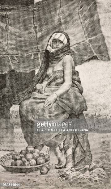 Arab costume woman with fruit basket engraving from a painting by Fabio Cipolla presented at the National exhibition of Fine Arts in Turin drawing by...